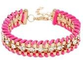 Rope armbandje strass roze