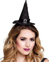Mini zwarte heksenhoed voor vrouwen - Verkleedhoofddeksel