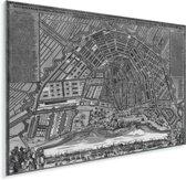 Zwart witte en historische stadskaart van Amsterdam Plexiglas - Plattegrond 40x30 cm - klein - Foto print op Glas (Plexiglas wanddecoratie)