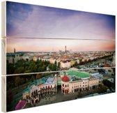 Uitzicht over Wenen Hout 160x120 cm - Foto print op Hout (Wanddecoratie) XXL / Groot formaat!