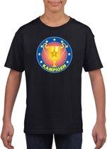 Zwart kampioen t-shirt voor kinderen L (146-152)