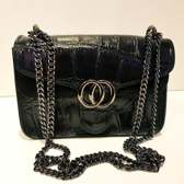 Zwartetas Italiaanse schoudertas crossbody tas dames kleine tas van echt leer tas met ketting zwart