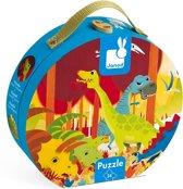 Janod Puzzelkoffer Rond Dinosaurus - 24 Stukjes