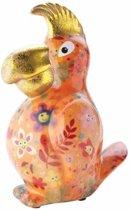 Spaarpot papegaai 22 cm oranje - Porselein