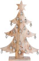 Clayre & Eef - kerst boom met glazen ballen - blank hout & zilverkleurig ballen - 5H0205