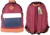 Borderline Trendy Rugzak Rugtas School Tas A4 Bordeaux Rood