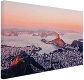 Roze zonsondergang Rio de Janeiro Canvas 60x40 cm - Foto print op Canvas schilderij (Wanddecoratie)