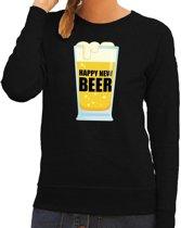 Foute oud en nieuw trui / sweater Happy New Beer zwart dames XL (42)