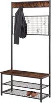 Acaza® Veelzijdig Garderoberek met 9 Handige Opberghaken - Inclusief Schoenenopberger - Zwart/Bruin - 187cm