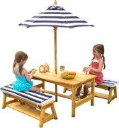 KidKraft Buitenset met tafel en bankjes met kussens en parasol - marineblauw met witte strepen