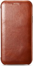 iCarer - iPhone X Hoesje - Book Case Echt Leer Bruin
