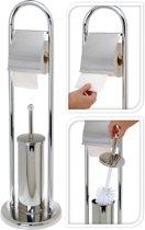 Toiletrol en wc-borstel houder glans RVS 80 cm
