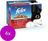 Felix Multipack Pouch Selectie 12x100 g - Kattenvoer - 4 x Vlees