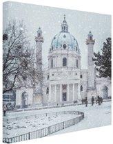 Karlskirche in de sneeuw Canvas 80x120 cm - Foto print op Canvas schilderij (Wanddecoratie woonkamer / slaapkamer) / Steden Canvas Schilderijen
