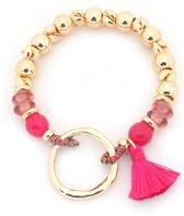 Armband met Ring en Kwastje - Elastisch bandje - Goudkleurig en Roze - Musthaves