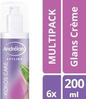 Andrelon Styling Glans Crème Kokos Care - 6x 200 ML - Voordeelverpakking