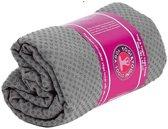 Yoga handdoek siliconen antislip grijs (183x65 cm)
