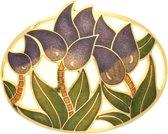 Behave®  Broche ovaal bloemen paars emaille