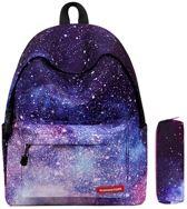 VMCA Galaxy Rugzak Schooltas Tiener en Volwassenen plus 1 potlood tas - Rugzak voor School en Vrije tijd – Voor Meisjes en Jongens - Paars