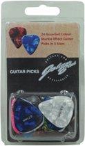 24 Gekleurde Marble Effect gitaar plectrums - 8 x 0.46mm, 8 x 0.71mm, 8 x 0.81mm