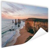 Foto van strand met klif Poster 120x80 cm - Foto print op Poster (wanddecoratie)