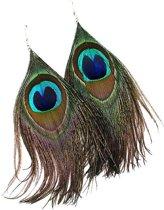 Dames oorbellen veren Pauw Groen 15cm