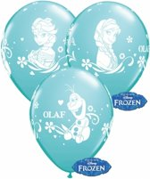 Blauwe Frozen ballonnen 6 stuks - Frozen kinderfeestje ballonnen