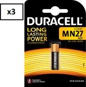 3 Stuks (3 Blisters) - Duracell MN27 27A 12v batterij