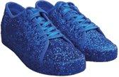 Blauwe glitter disco sneakers/schoenen voor dames 40