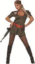 Soldaten jurk groen met rode riem voor dame