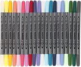 Textielstiften, lijndikte: 2,3+3,6 mm, 20 stuks, extra kleuren