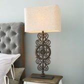 LOBERON Tafellamp Drubec linnen/antiekbruin