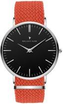 Wallace Hume Zwart - Horloge - Perlon - Oranje