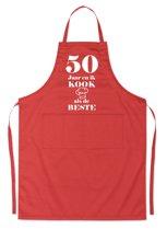 Mijncadeautje - Luxe schort - 50 jaar - en ik kook als de beste - rood