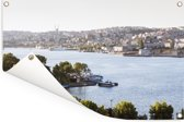 Rivier bij Istanbul Tuinposter 180x120 cm - Tuindoek / Buitencanvas / Schilderijen voor buiten (tuin decoratie) XXL / Groot formaat!