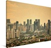 Oranje zonsondergang boven Manila Canvas 140x90 cm - Foto print op Canvas schilderij (Wanddecoratie woonkamer / slaapkamer) / Aziatische steden Canvas Schilderijen