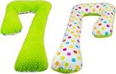 Voedingskussen / Zwangerschapskussens | C-vorm 240 cm | Groen en wit met gekleurde bolletjes