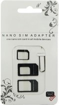 Zwart Universeel Nano Simkaart adapter frame set met pinnetje simkaartslot opener