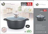 Marble soep/braadpan - Met glazen afdekplaat zwart voor inductie 32 cm 7 Liter Stienmeijer Germany