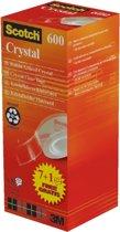 Value Pack: 7 x Scotch® Crystal Tape, Kartonnen Toren, 19 mm x 33 m + 1 Rol GRATIS
