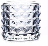 Theelichthouder Lyon lichtblauw glas 10 cm - waxinelichthouder