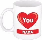 Moederdag cadeau beker / mok - I Love You Mama - 300 ml keramiek