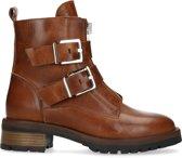 Manfield - Dames - Cognac biker boots met gespen - Maat 39