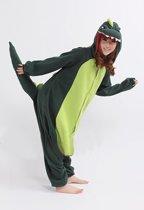 KIMU Onesie groene draak pak kostuum krokodil dino - maat L-XL - drakenpak jumpsuit huispak festival