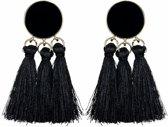 Fako Bijoux® - Oorbellen - Kwast - Boho - Cirkel - Zwart