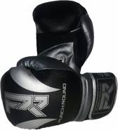 Punch Round Bokshandschoenen SLAM Mat Carbon Zwart Zilver 14 OZ Bokshandschoenen