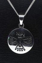 Zilveren Indiaan Adelaar rond hopi style ketting hanger