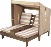 KidKraft Tweepersoons chaise longue - Voor kinderen - Met bekerhouders - Espresso/beige