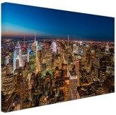 Slaapkamer Thema New York.Bol Com New York Skyline Nacht Canvas 80x60 Cm Foto