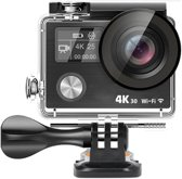 Lipa AT-A890 action camera 4K Ultra HD Sony lens Wifi/ Met Goodram 16 GB SD-kaart / Elektronische beeldstabilisatie/ Remote via wifi en afstandsbediening / Dual screen/ Met 23 mounts en waterproof case/ Startklaar pakket